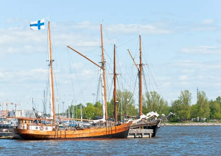 Vintage yachts on the waterfront of Helsinki  Finland  photo