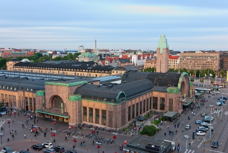 Helsinki railway station  Panorama of the city center  Finland  Editorial