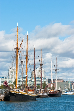 Old sailing ships on the waterfront of Helsinki  Finland  Stock Photo