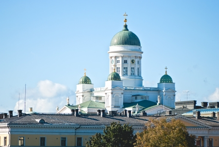 View of the Lutheran Church in the center of Helsinki  Finland  photo