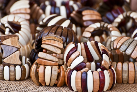 Wooden bracelets handmade in the central market of the city of Helsinki  Stock Photo