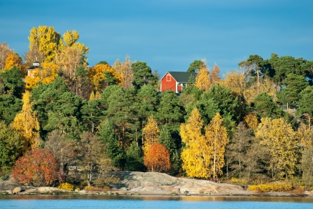 Autumn landscape. Shot at sunset in Helsinki. Finland. Stock Photo