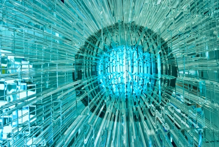 Abstract glass ball with multiple reflections. Stock Photo
