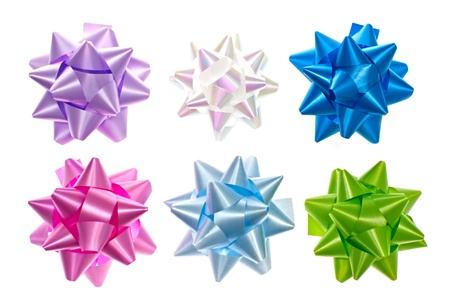 Set of colorful bows isolated on white. Stock Photo