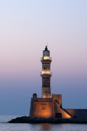 Chania lighthouse at sunset. Crete. Greece.
