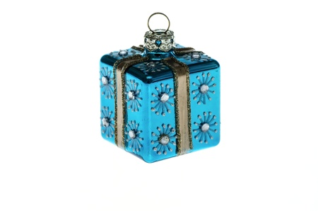 Blue Christmas tree toy isolated on white background