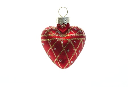 Christmas Toy red heart isolated on white background