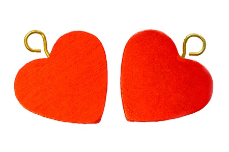 Two red hearts isolated on white background  스톡 사진