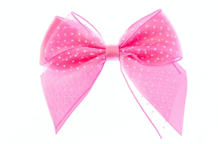 pink ribbon bow isolated on white background  photo