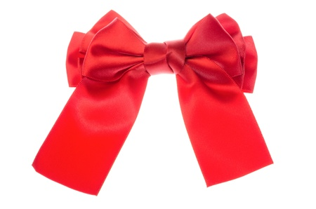 Red ribbon bow isolated on white background  photo