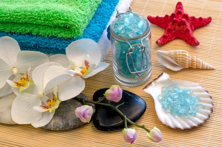 Spa concept with zen stones and orchid  Thailand  photo