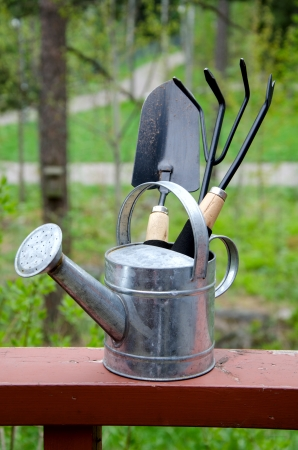 Garden tools on a background of nature photo