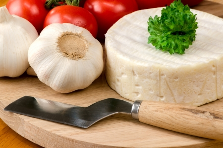 French cheese on a wooden board  스톡 사진