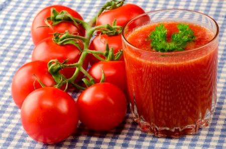 Fresh tomato juice with herbs 스톡 사진