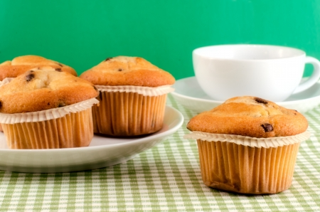 Fresh muffins on the table.
