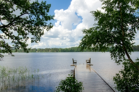 Lake shore. Summer landscape. Finland. photo