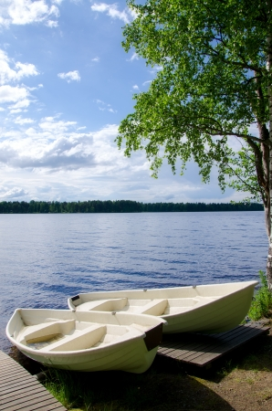 Boats on the lake. Finland. photo