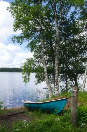 Boat on the lake  Finland  photo