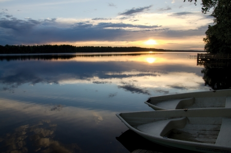 Sunset on the lake  Finland  photo