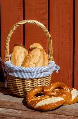 Crispy French baguettes in a basket. France. photo