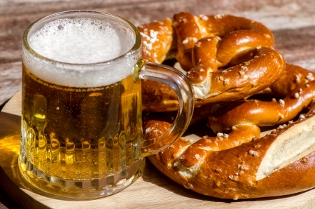Oktoberfest Beer Mug and traditional German pretzels