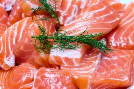 fresh salmon with dill on white plate photo