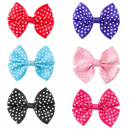 Collection set of colorful ribbon bows isolation on a white background photo
