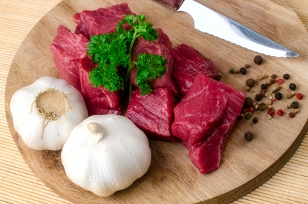 raw meat, vegetables and spices