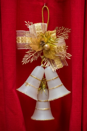 Christmas decoration on a red background.