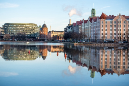 Embankment in Helsinki autumn. Finland. Stock Photo