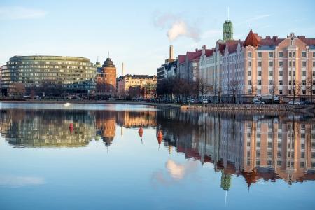 Embankment in Helsinki autumn. Finland. 스톡 사진