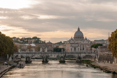 Saint Peter cathedral and bridge Saint Angel, Rome, Italy Stock Photo