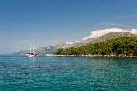 Yacht in a bay on the island. Croatia.