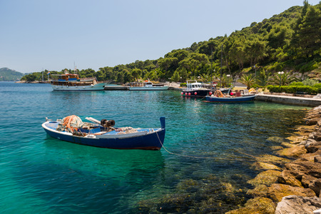 Boats in the bay of Mlini, Croatia Stock Photo