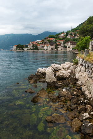 Panorama of Perast, Kotor bay, Montenegro. Stock Photo