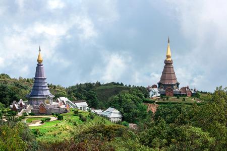 arhitecture: Two Big Pagoda at Doi Inthanon National Park,Thialand