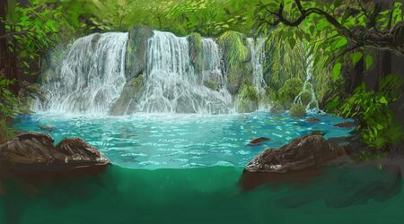 Hawaii waterfall digital painting