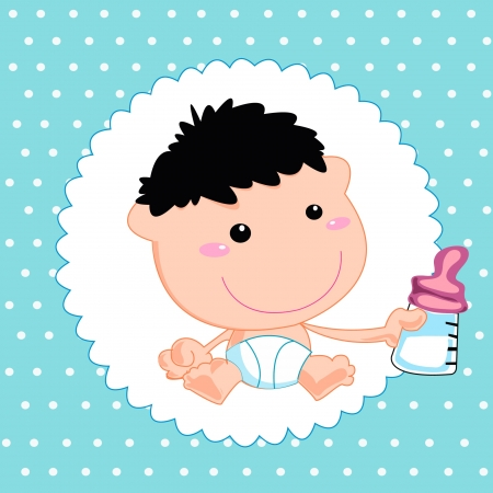Greeting with a baby elements. Vector illustration. Stock Vector - 20324677