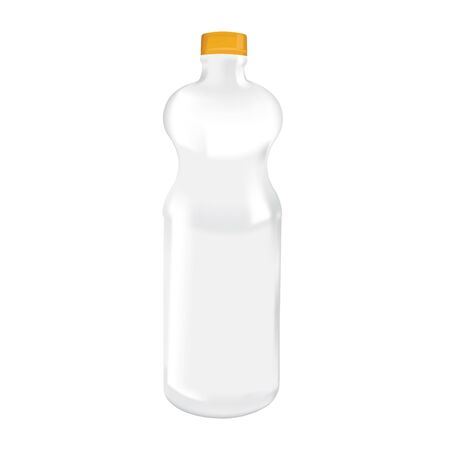 Realistic Blank Plastic Bottle Mockup for Economy Condiments Çizim