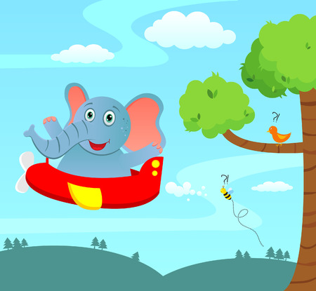 Elephant in a plane Vector