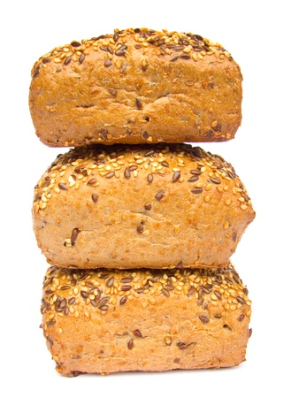 multi-grain roll  nutrient-rich roll isolated on white background Stock Photo
