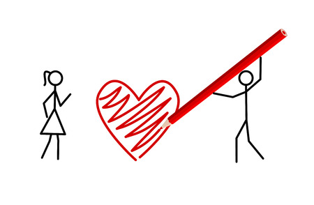 Two stickmans in love draw a heart with a crayon Stock Vector - 8933511