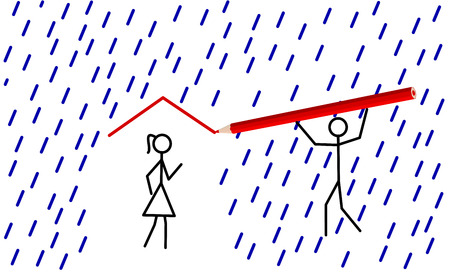 Stickman provides shelter from rain for hisher love Vector