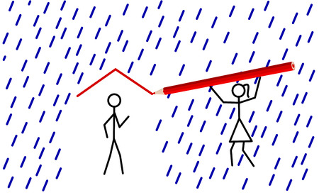 Stickman provides shelter from rain for his/her love Stock Vector - 8933257