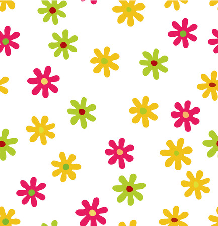 Seamless background with colored flowers Illustration