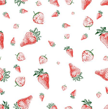 Nahtlose Hintergrund gemacht von Erdbeeren in verschiedenen Formen und Größen Vektorgrafik