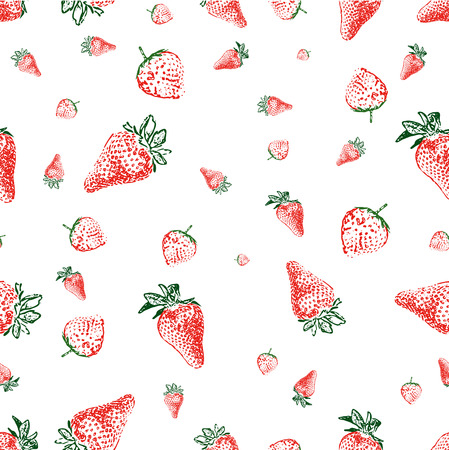 Seamless background made of strawberries of different shapes and sizes