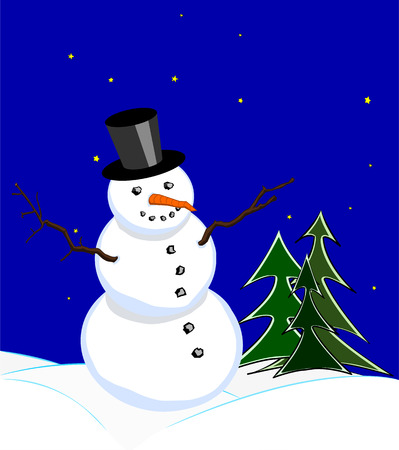 stovepipe hat: Snowman with stovepipe hat in winter night under starlit sky