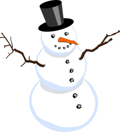 Snowman with stovepipe hat isolated on white background Illustration