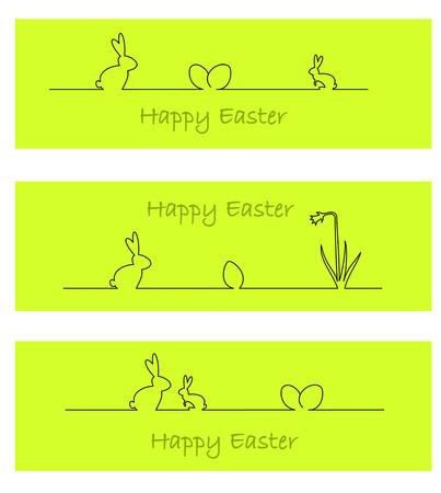 Three green banners with easter bunny, easter eggs, and daffodil Vector
